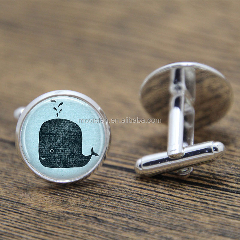 Whale cufflink,Cute Blue Sperm Whale Moby Dick Big Fish Ocean Nautical Art cufflink Blue Sperm glass cufflink