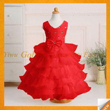GBJY-771 2017 Trending Products Long Frock Design Girl-Party-Wear-Western-Dress-3-5 Year Old Girl Dress Red Colour Frock