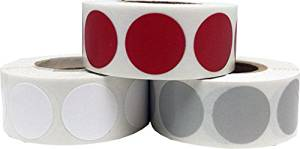 """Craft Decoration Color Coding Dot Stickers - Cranberry White and Grey - 1,500 Total 0.75"""" Inch Round Adhesive Labels"""