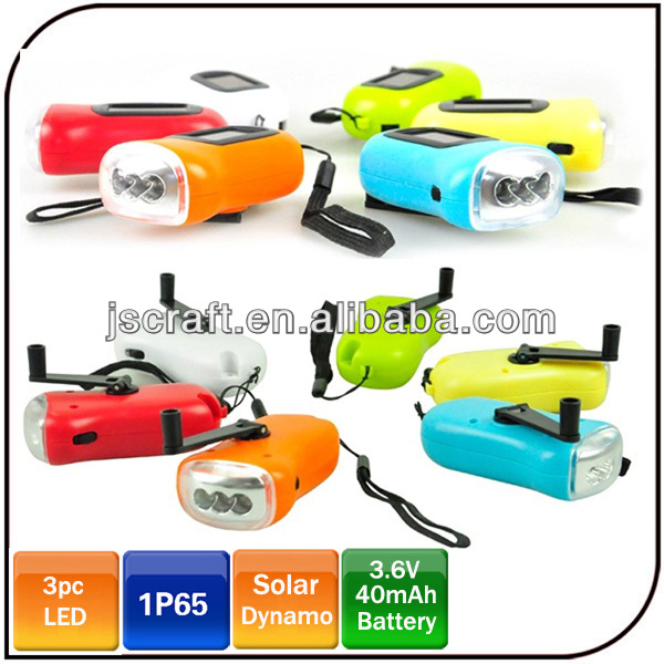 3 led hand crank flashlight Solar power hand shake led dynamo flashlight