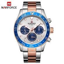 Мужские часы NAVIFORCE, кварцевые аналоговые Роскошные модные спортивные Водонепроницаемые наручные часы со стальным ремешком, 30 м, 2019(Китай)