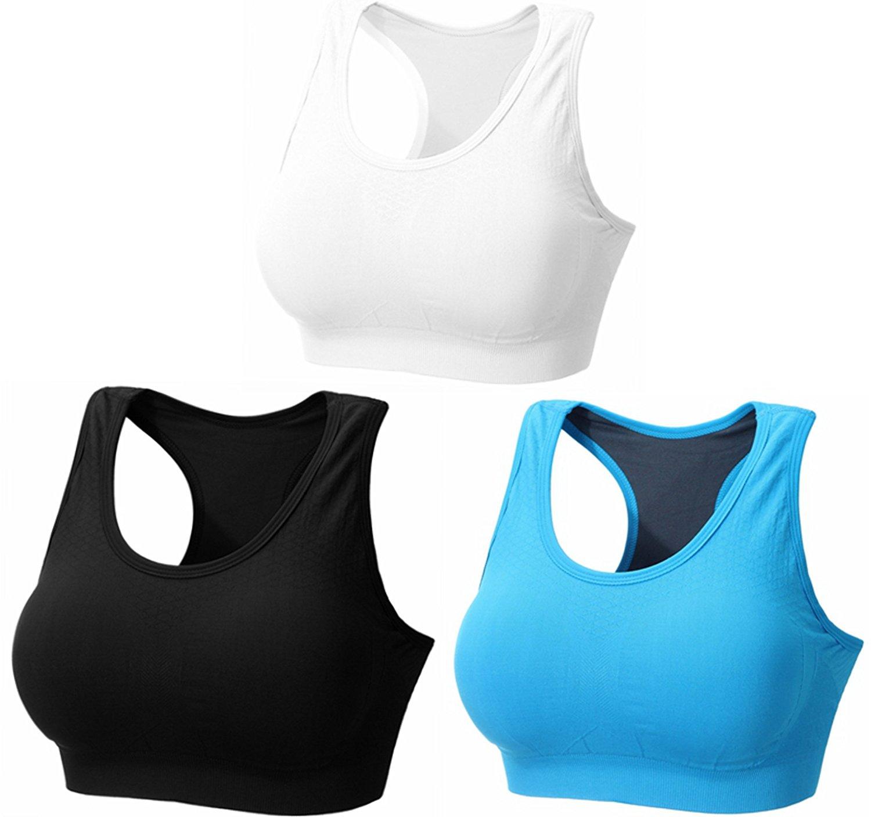 af7615513e310 BRABIC Women Sport Bras Padded Seamless Bralettes Pullover Racerback Pack  of 3