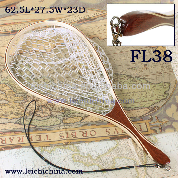 Wooden Frame With Extra Long Handle Rubber Landing Net