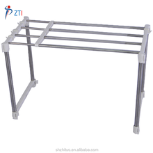 DIY stainless steel telescopic kitchen storage holder shelf stand microwave oven rack