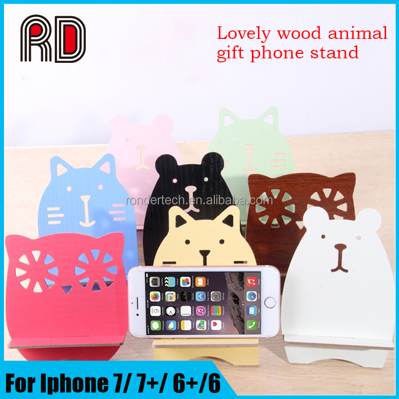Promotion creative gift lovely cartoon bear rabbit green wood tablet universal mobile phone stand