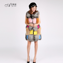 Real Mink And Natural Silver Red Fox Fur Waistcoats Womens Autumn Winter Vest Fur Colored Long Style Gilet Pink Yellow Blue