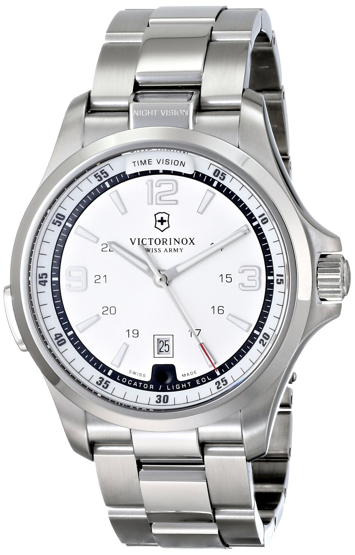 Victorinox Men's 241571 Night Vision Analog Display Swiss Quartz Silver Watch
