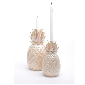 Solid fancy pineapple shape funny candle stick rose gold ceramic candle holder for sale