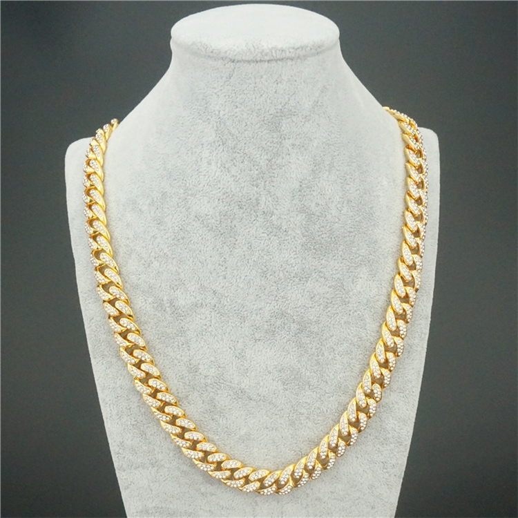 Hotselling High Quality Men's Cuban Link Necklace Hips Hops Iced Out Pave Full Crystal Cuban Link Chain Necklace