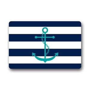 Navy Blue and White Stripes Pattern With Anchor Print Non-slip Doormat,Floor Mat Door Mat Rug?Indoor/Outdoor/Front Door/Bedroom Mats??23.6(l) X 15.7(w) Inch