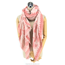 100% cotton lady fashion yarn dyed cut flower cut motif floral jacquard scarf, stylish square scarf