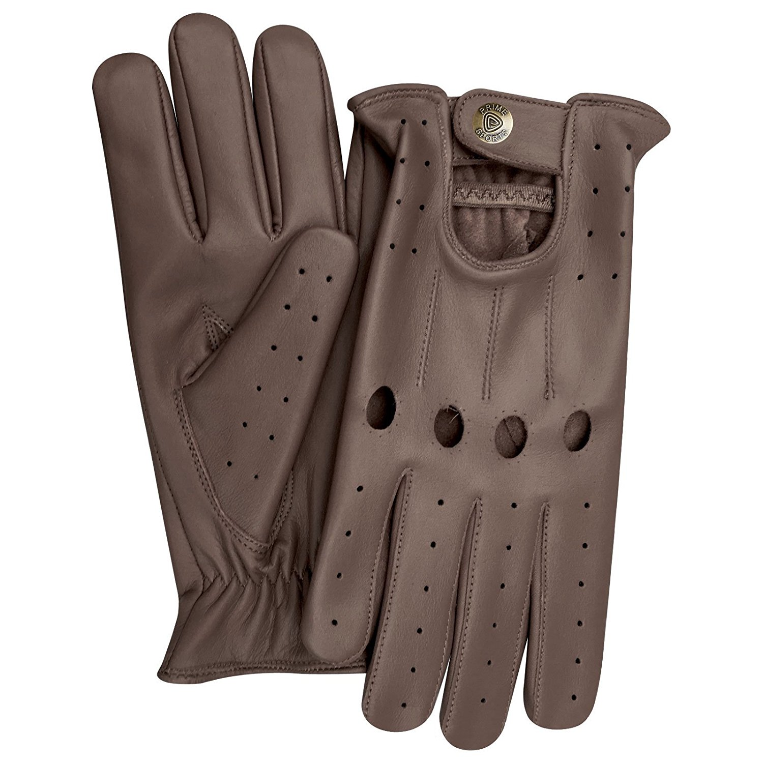 Men's Classic Genuine Cow Nappa Leather Motorbike Dress Fashion Driving Gloves Brown 507