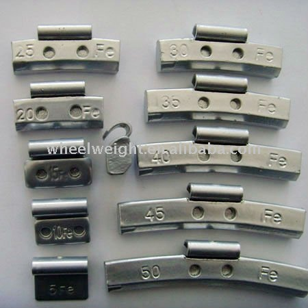 Plastic-coating/uncoated fe(iron) clip-on wheel balance weights
