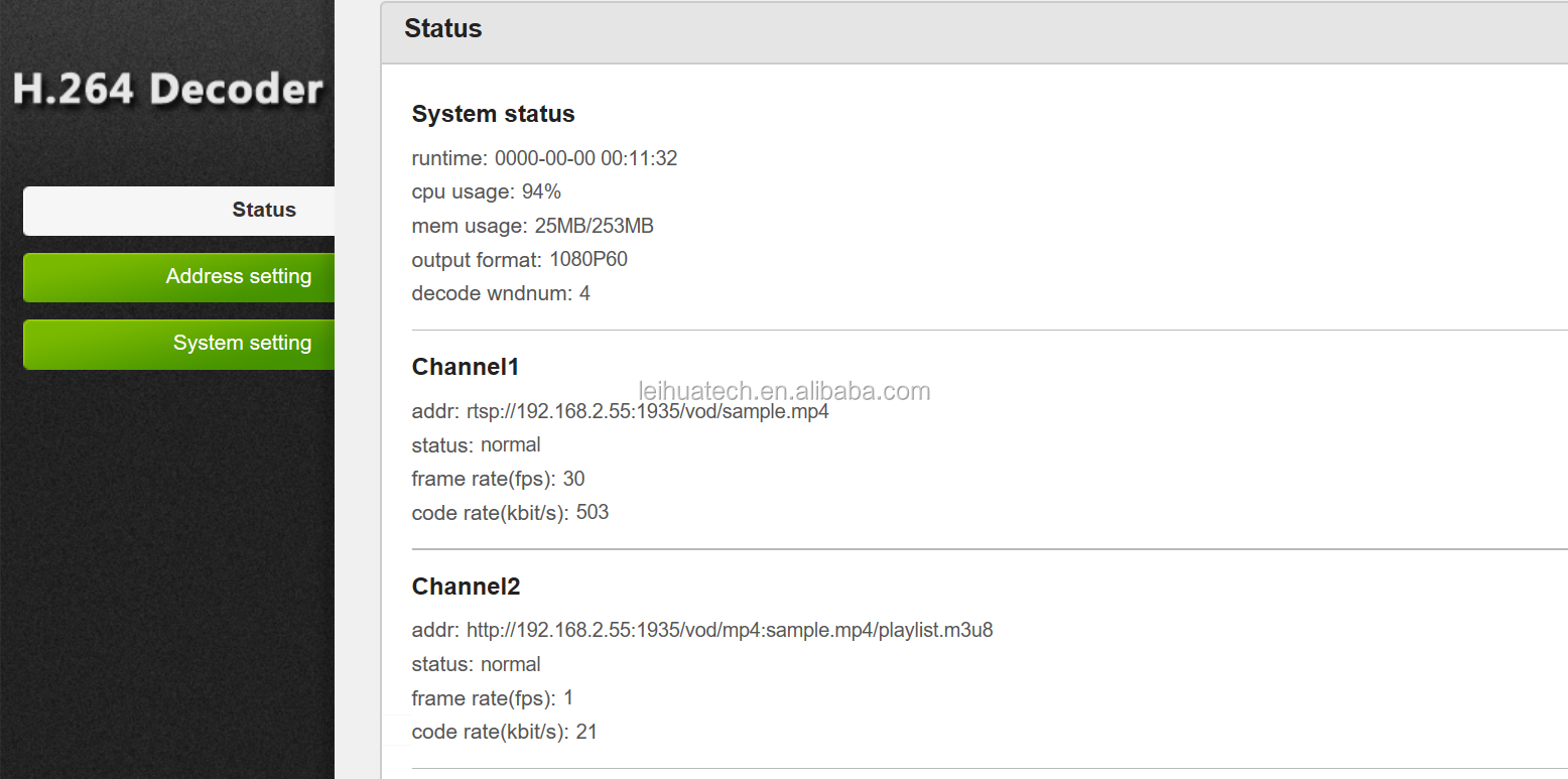H 264 H 265 IP HTTP/RTMP/UDP/RTSP Decoder HD MI+VGA+SDI/CVBS