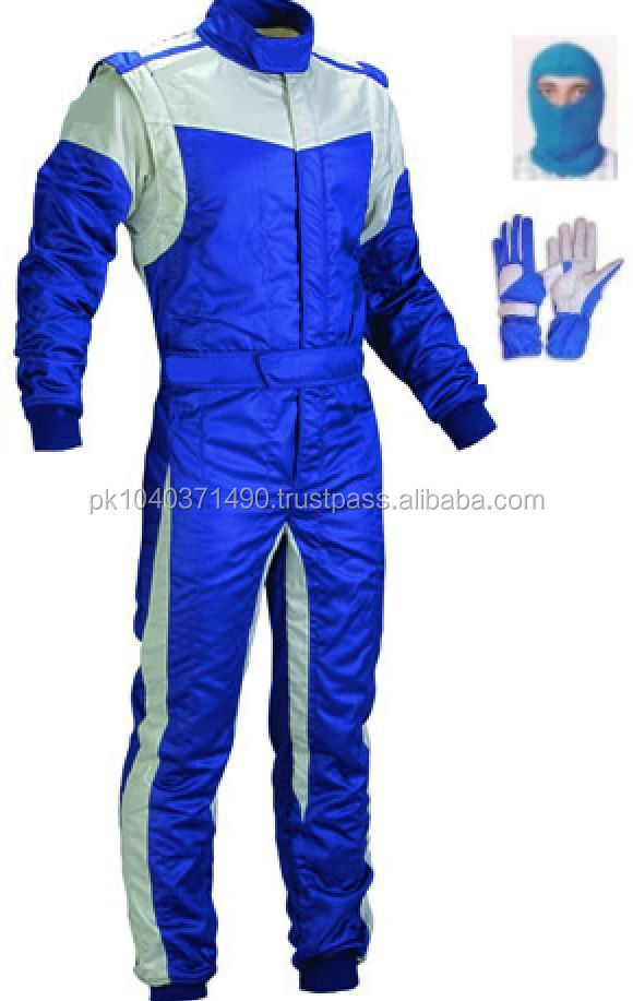 Kart race suit (free balaclava and gloves)/Go kart race suit Blue White Kart Suit (free gifts)