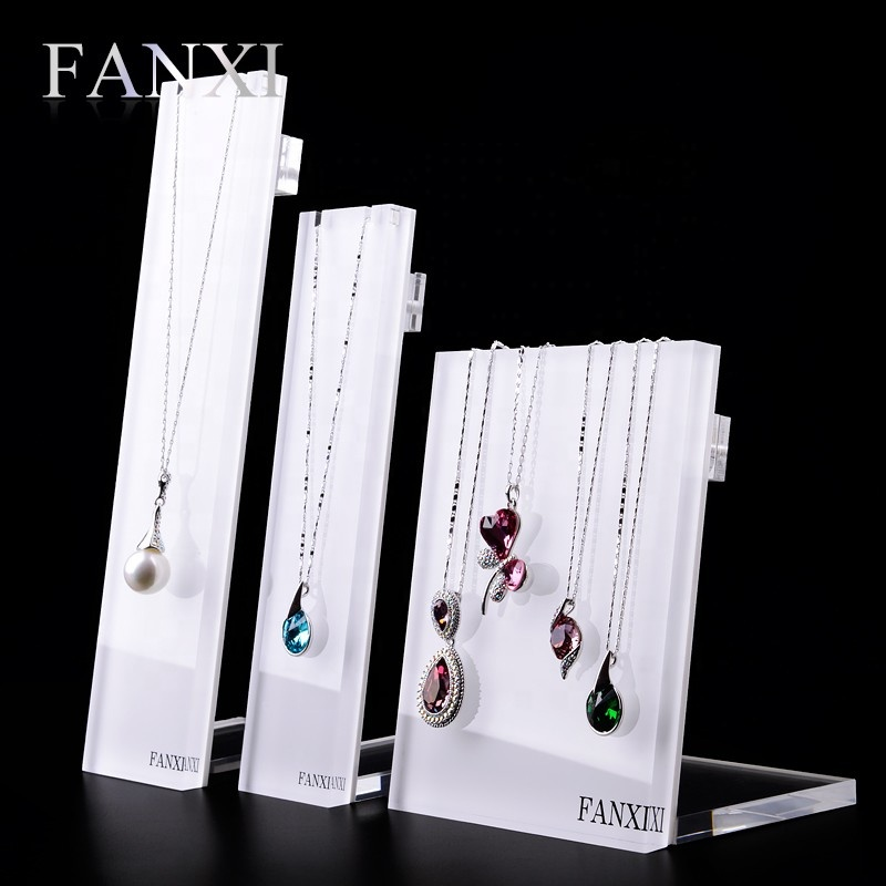 FANXI Wholesale Custom Stylish Design Jewelry Display Rack Shelf Stand with Hooks White Acrylic Necklace Display, White or customized color for acrylic neckalce display stand
