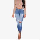 AM020 Hot saleWomen`s Plus Size jeans Mid Waist Ripped Stretch Skinny Pants Jeans For Women True Denim Jean retail