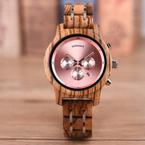 2019 DODO DEER Drop Shopping Auto Date Women Handmade Natural Wooden Watches OEM with Pink Dial