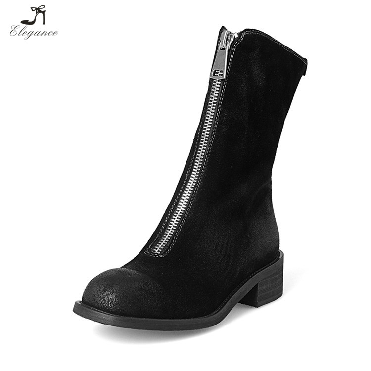 Winter Wear-resisting Front Zipper Slope Chunky Heels Genuine Leather Boots Shoes