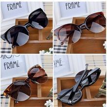 High Quality 2015 New Fashion Retro Designer Super Round Circle Glasses Cat Eye Semi-Rimless Women's Sunglasses Glasses Goggles