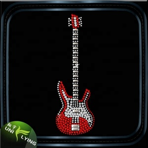 Wholesale hip hop bling Guitar instrument music Rhinestone heat transfers design