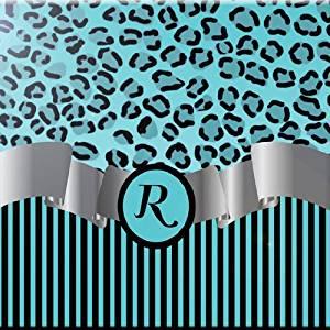 "Rikki Knight RK-6intilec-2393 6"" X 6"" Letter ""R"" Sky Blue Leopard Print Stripes Monogram Design Ceramic Art Tile"
