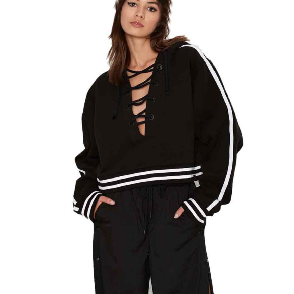 Hot Sale! Women Hoodies,Canserin Womens Loose Casual Lace up Neck Hoodie Sweatshirt Pullover Short Coat (L, Black)