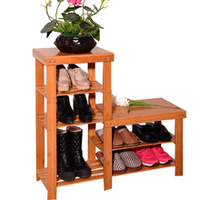 35.4in Bamboo 3 Tier Multifunctional Changing shoe Rack Storage Bench
