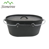 Cast iron camping oval dutch oven