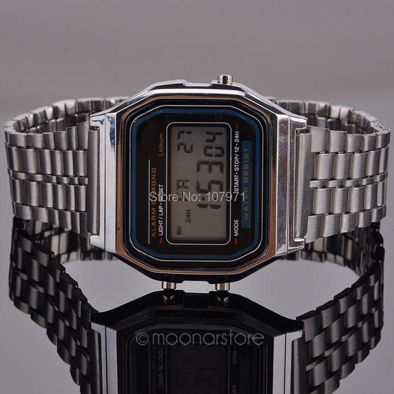 Ретро винтажный золото часы мужчины электронный цифровой часы светодиодные платье наручные часы relogio masculino FYMHM102