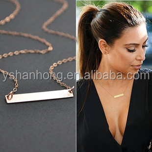 American simple bar pendant 18k gold thin chain custom necklace design jewelry jewelly