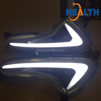 Dual Color Led Drl Fog Lights For Hyundai Accent Verna Solaris Car Accessories