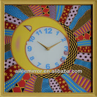 2013 new style mdf wall clock antique clock reproduction neon light clock