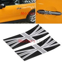 Black Union Jack UK Flag Vinyl Stickers For All BMW Mini Cooper Door Handle