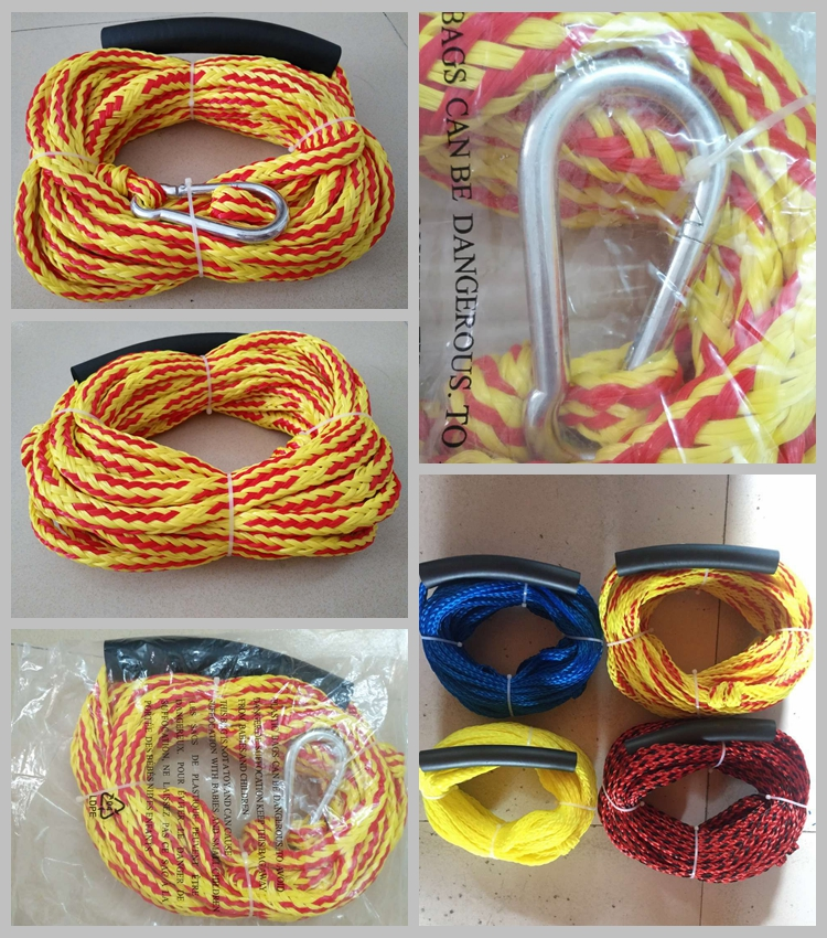Nylon/PE Towable Tube Accessories Tow Rope with Stainless Snap Hook&Float for 1-2 Person Tubes 2K Water Sports Rope