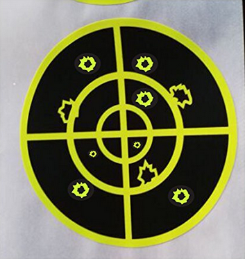 "(Qty 250pcs 3"") Splatter Target Sticker - Instantly See Your Shots Burst Bright Florescent Yellow Upon Impact!"