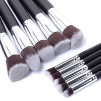 10pcs kabuki style professional makeup brush set foundation blusher 5 colour