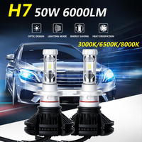 Super bright X3 led headlight high power 50w 6000lm car Led Headlight kit h7 led headlight