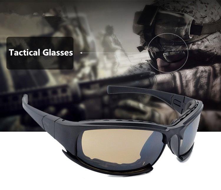 2df812f702b4 SEASUN Cs7 Polarized Army Goggles, Military Sunglasses 4 Lens Kit, Men's  Desert Storm War Game Tactical Glasses Sporting