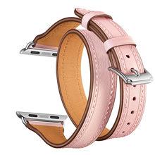 Ремешок из натуральной кожи для часов Apple Watch Series 5, 4, 3, 2, 1, 44 мм, 40 мм, двойной кожаный ремешок для часов 38 мм, 42 мм(Китай)