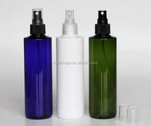 250ml pump spray bottle 8oz Blue/ Transparent/ Green pet plastic bottle for hair care and skin care liquid
