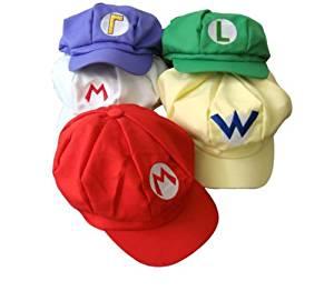 87de617fd05c Get Quotations · Togetherwe 5pcs Super Mario Bros Hat Mario Luigi Cap  Cosplay Red Green Purple Yellow White