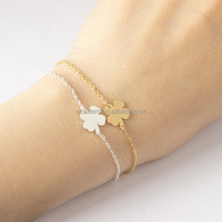 Vintage Stainless Steel Lucky Charm Four Leaf Clover Bracelet Women Yiwu Manufacturer Hot Sale Products