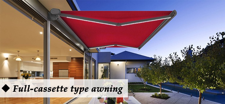 Full Cassette Balcony Motorized Roof Waterproof Outdoor Sun Shade Rain Electric Aluminum Window Terrace Retractable Cheap Awning