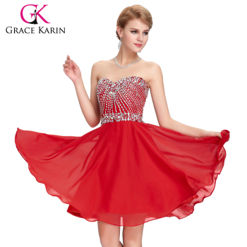 Grace Karin 2016 Strapless Sweetheart Neckline Chiffon Beaded Short Red Cocktail Dresses GK000082-1