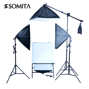 SOMITA Photography Studio Continuous Light Kit with 50X70cm Soft box and 2M Light stand Boom Arm Shooting table 5500K lamps