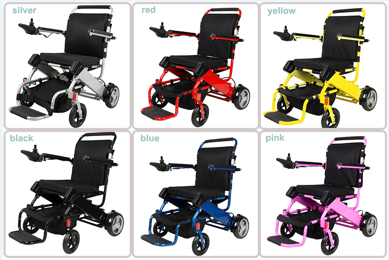 CE FDA standard 7003 aerospace titanium-aluminum alloy lightweight folding power wheelchair with lithium battery