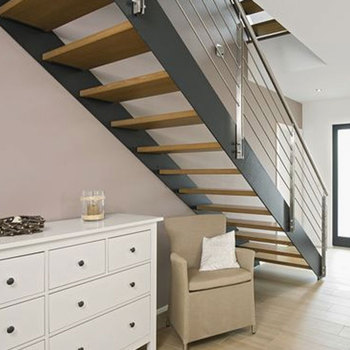 Genial Contemporary Floating Staircase With Wood Tread Double Stringer Straight  Stairs