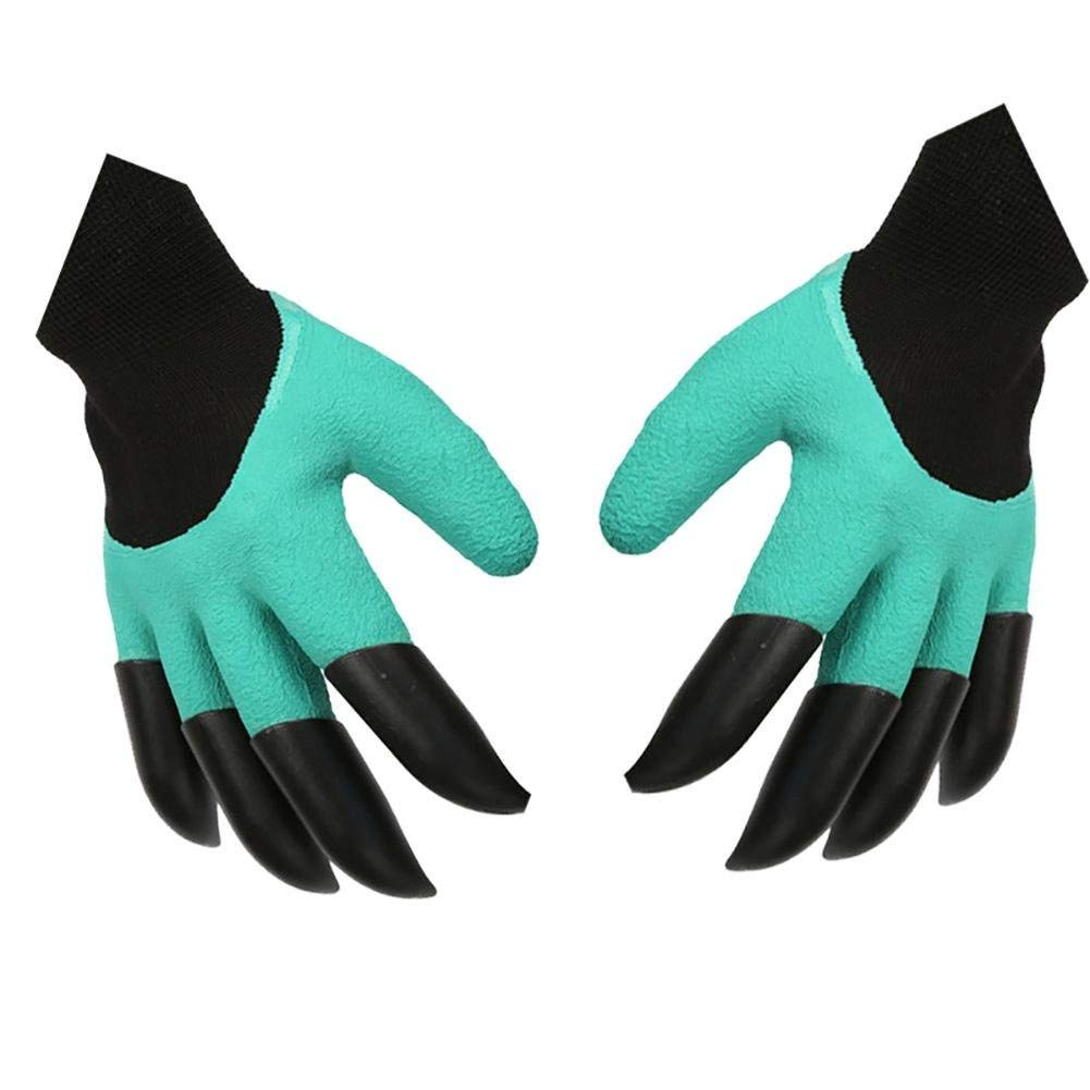 JZDCSCDNS Garden Gloves Anti-scratch Waterproof Non-slip Wear-resistant Anti-bacteria Tear-resistant Planting Dig Soil Carding Elastic Cuffs Latex Coating 8 ABS Paws Hemp Fabrics 24 12cm