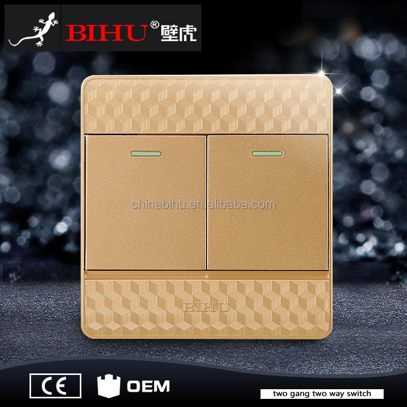 Bihu nieuwe ontwerp golden golor 2 gang 2way 3way muur plaat schakelaar socket muur schakelaars - Nieuwe ontwerpmuur ...